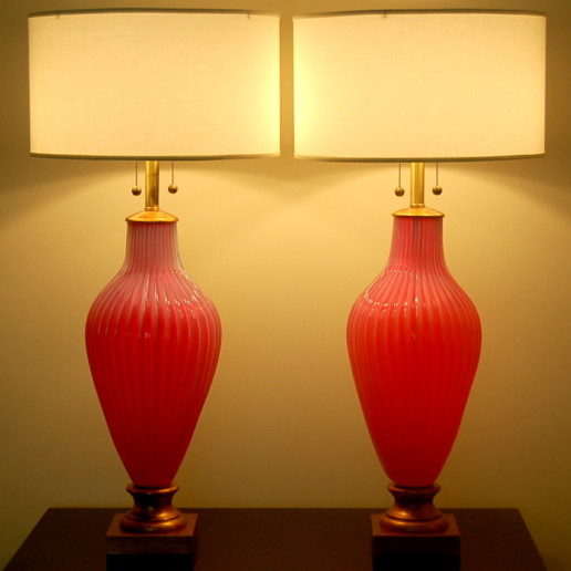 The Marbro Lamp Company - Murano Lamps in Raspberry Sherbet Opaline Glass