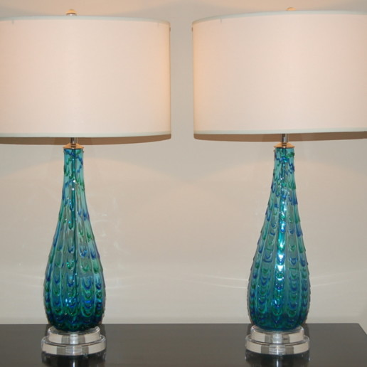 Blue Vintage Murano Lamps With Green Applied Drips