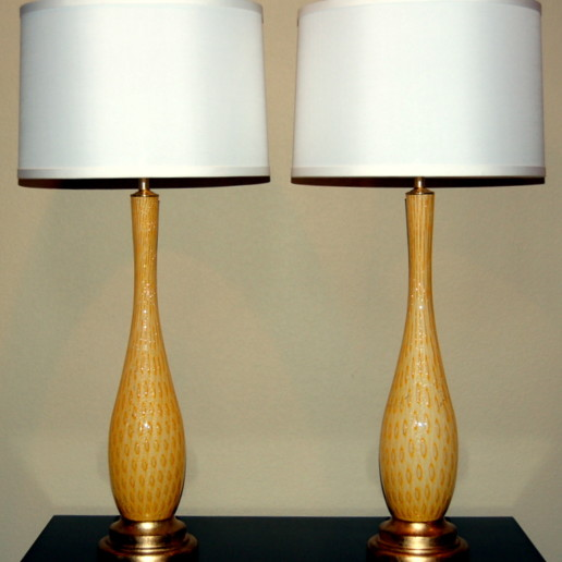 Barovier & Toso - Orange Murano Lamps in Peacock Feather Pattern