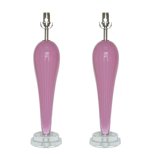 Hand Blown Pair of Glass Lamps by Joe Cariati in Lavender Berry
