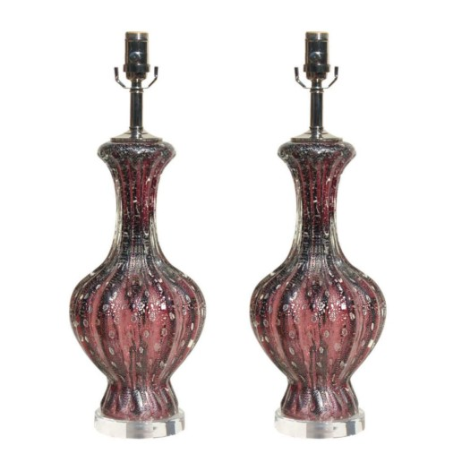 Purple Murano Lamps with Silver Inclusion
