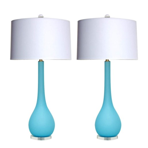 Murano Long Neck Table Lamps in Sky Blue