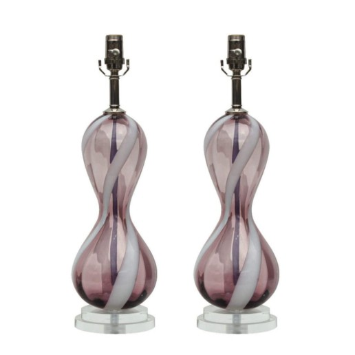 Vintage Murano Lamps Grape Figure Eights with White Swirl