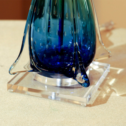 Blue and Green Vintage Finned Murano Lamps