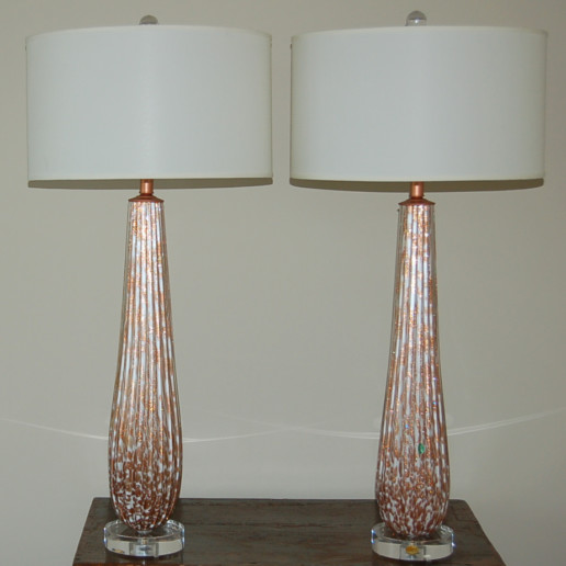 Huge Vanilla and Copper Murano Table Lamps