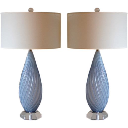 Almond Shaped Opaline Murano Lamps by Barbini in Lavender