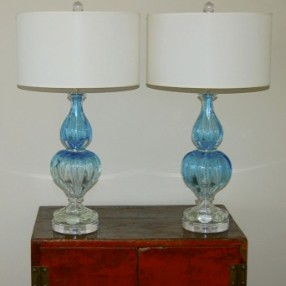 Two Toned, Two Piece Blue Vintage Murano Lamps