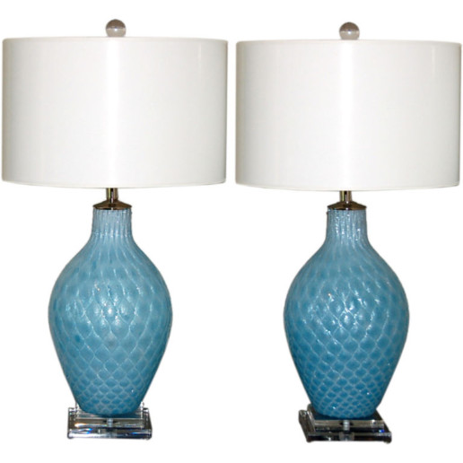 Vintage Diamond Paned Murano Lamps in Aquamarine