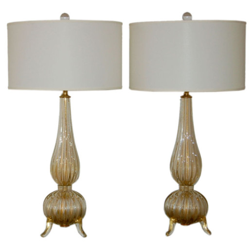 Classic Three Footed Vintage Murano Lamps in Champagne