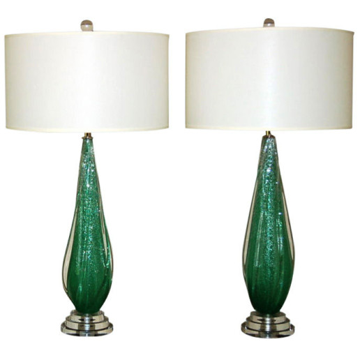 Coke Bottle Green Pulegoso Murano Table Lamps