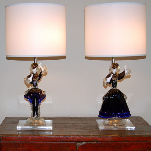 Murano Figurine Lamps in Cobalt