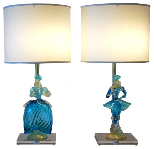 Murano Figurine Lamps in Light Blue