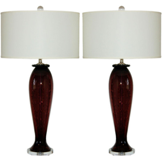 Vintage Murano Table Lamps in Purple with Controlled Bubbles