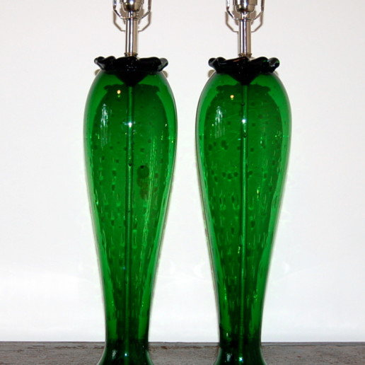 Vintage Murano Table Lamps in Green with Controlled Bubbles