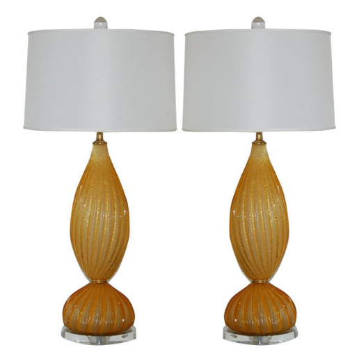 A.V.E.M. - Butterscotch Pulegoso Murano Two-Piece Lamps