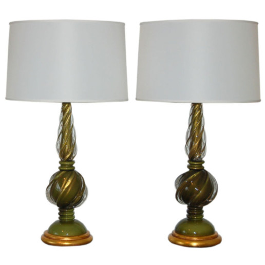 Marbro Lamp Company - Murano Lamps of Avocado Green