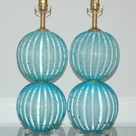 Stacked Two Ball Murano Lamps in Dreamy Blue with Gold Dust