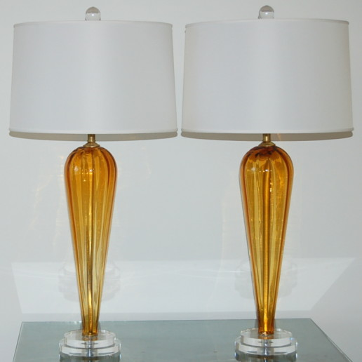 Butterscotch Murano Teardrop Lamps