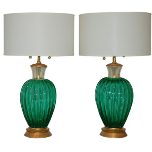 Alfredo Barbini - Vintage Murano Lamps in Emerald and Gold