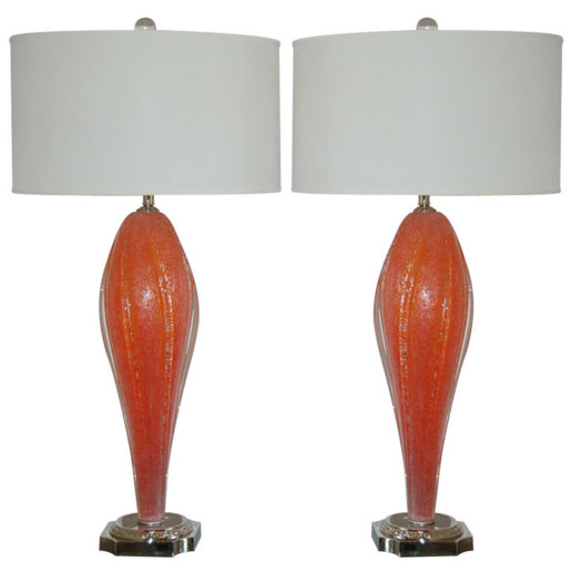 Rare Melon Orange Vintage Murano Lamps