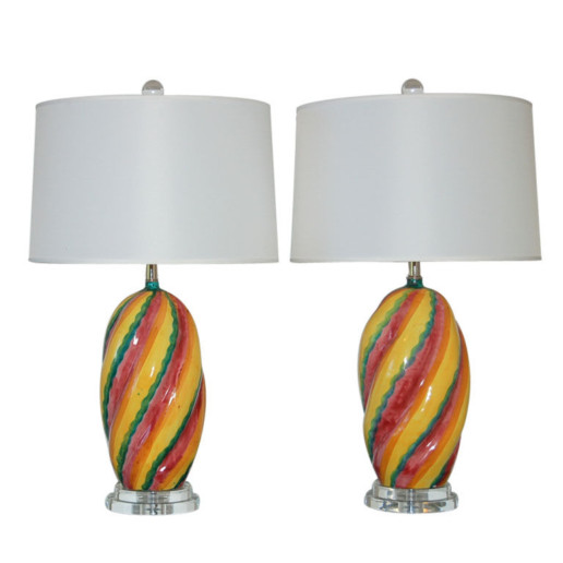Colorful Italian Ceramic Lamps 1960s