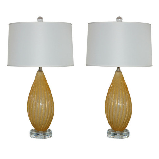 Vintage Murano Lamps in Gold Pulegoso