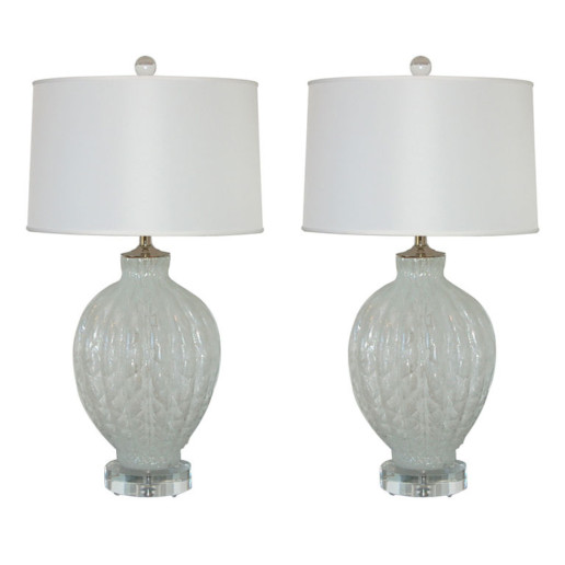 Murano Pulegoso Diamond Pattern Lamps in White Ice