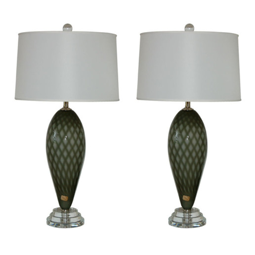 Full Figure Vintage Murano Lamps in Charcoal and Smoke