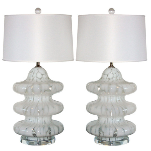 Three Tiered Mottled Lamps of White and Clear