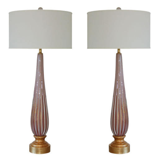 Vintage Murano Elegant Pair of Striped Lamps in Plum and Cream