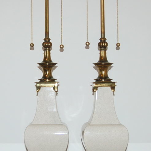 Pair of Vintage Stiffel Crackle Glazed Lamps