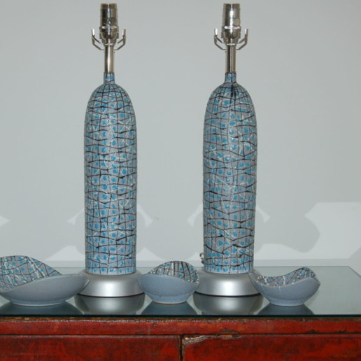 Vintage Bullet Lamps and Bowl Set from The Marbro Lamp Company
