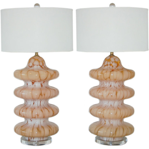 Vintage Murano Four Tiered Lamps in Caramelized Peach