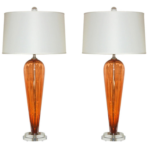 Hand Blown Pair of Glass Lamps by Joe Cariati in Apricot