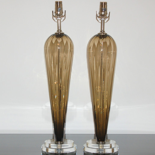 Hand Blown Pair of Glass Lamps by Joe Cariati in Bronze