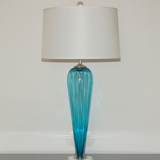 Hand Blown Pair of Glass Lamps by Joe Cariati in Teal