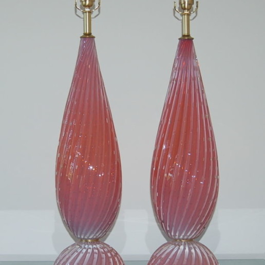 Opaline Vintage Murano Lamps in Peach Berry