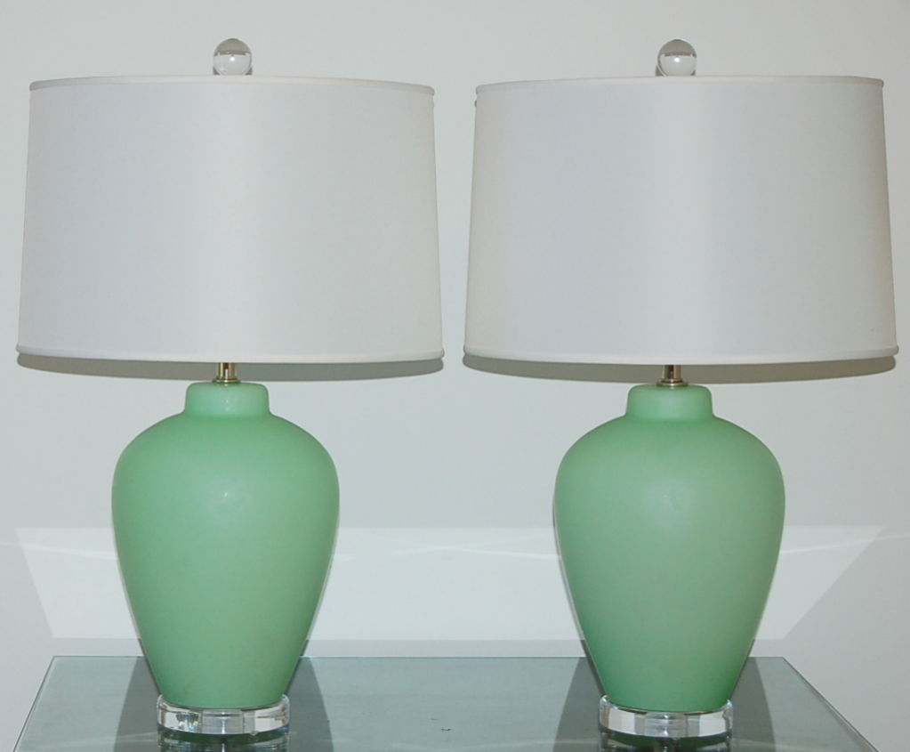 Vintage Murano Lamps In Mint Green On Lucite Swank Lighting