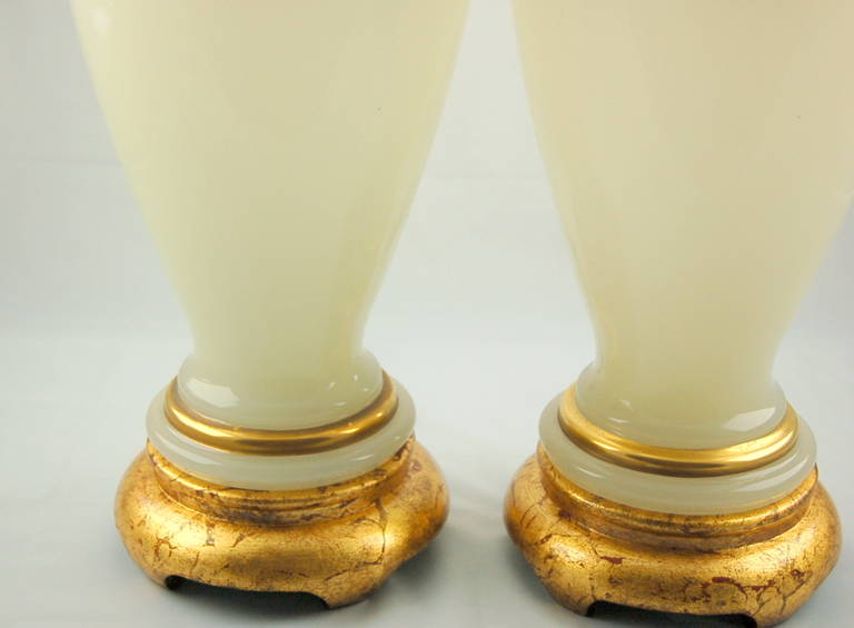Vintage Murano Opaline Glass Table Lamps White Gold