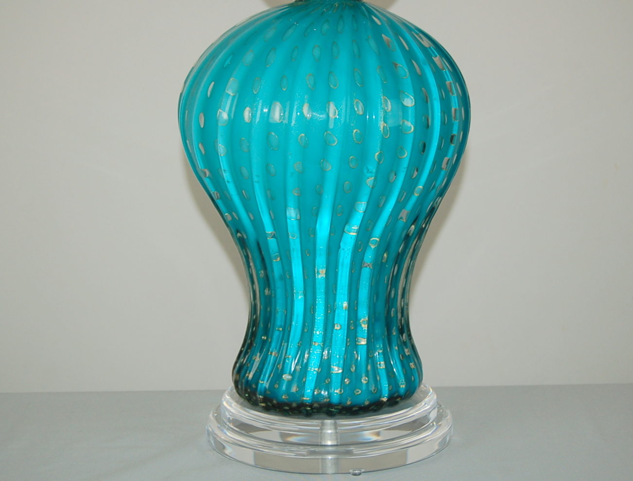 Murano Vintage Glass Table Lamp Turquoise Gold Swank