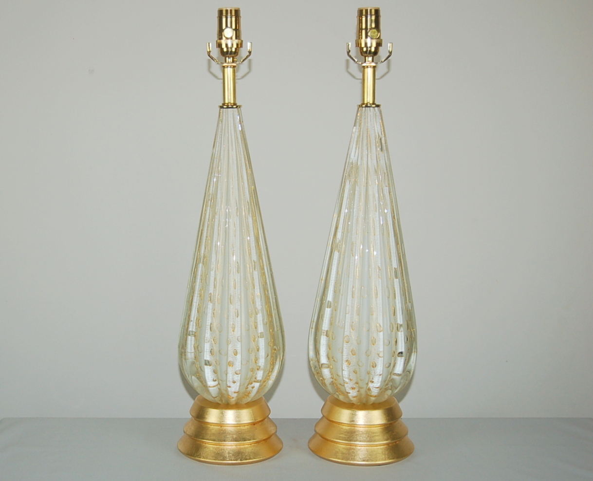 Vintage Murano Glass Table Lamps White Gold Swank Lighting